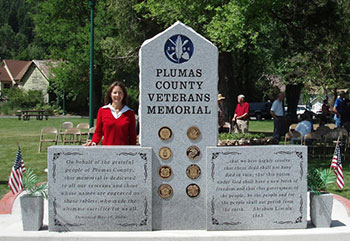 Engraved polished stone for Plumas County Veterans Memorial