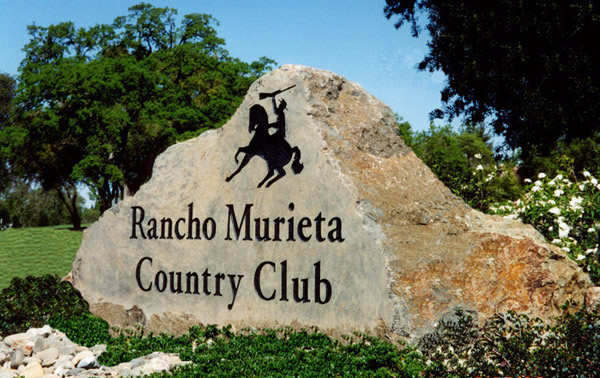 Engraved stone entry sign for Rancho Murieta Country Club