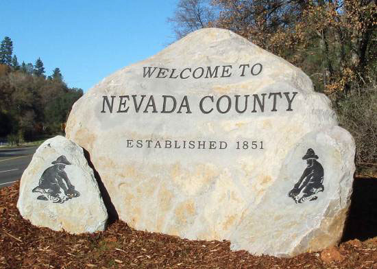 Rock Entry Monument Sign for Nevada County