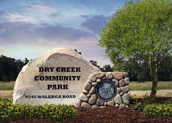 Rock entry monument sign for Dry Creek Community Park
