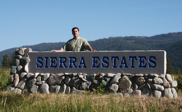 Polished stone entry monument sign for Sierra Estates HOA