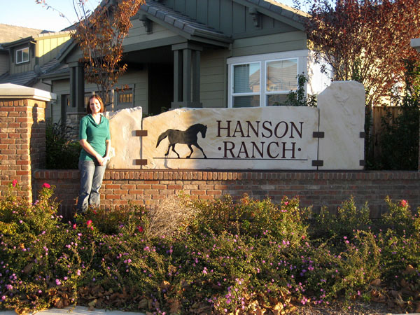 Sandstone entry sign for Hanson Ranch