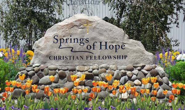 Stone entry sign for Springs of Hope church