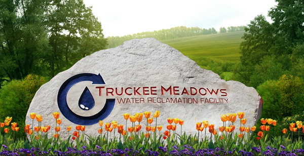 Engraved rock entry sign for Truckee Meadows Water Reclamation Facility