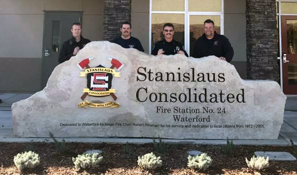 Granite entry sign for Stainslaus Consolidated Fire Station