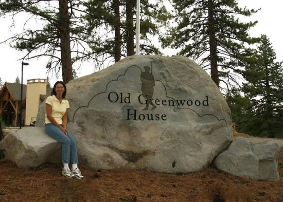 Natural rock entry sign for Old Greenwood House