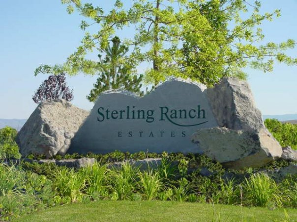Polished stone entry sign for Sterling Ranch Estates