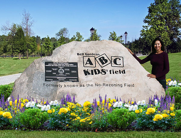 Stone granite boulder sign for ABC Kid's field