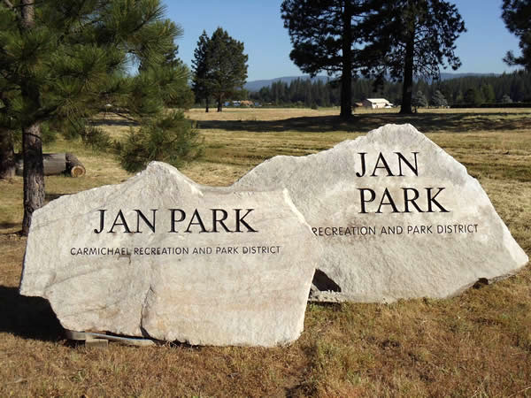 Stone signs for Jan Park