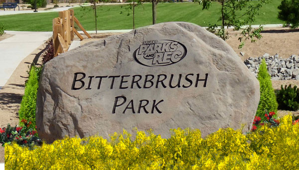 Natural rock sign for Bitterbrush Park