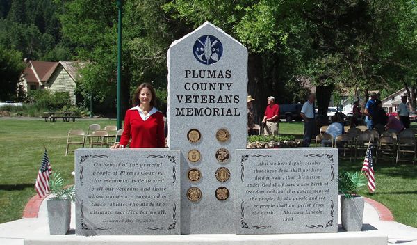 Polished stone memorial sign for Plumas County park