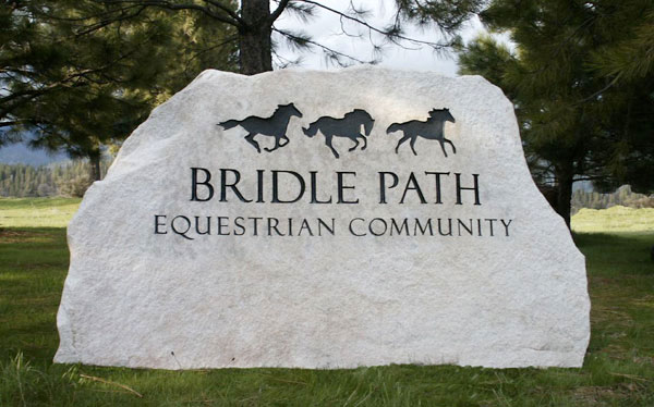 Engraved park sign for Bridle Path Equestrian Community