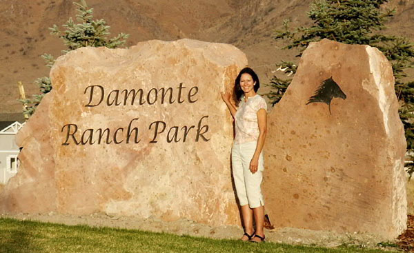 Engraved natural rock sign for Damonte Ranch Park