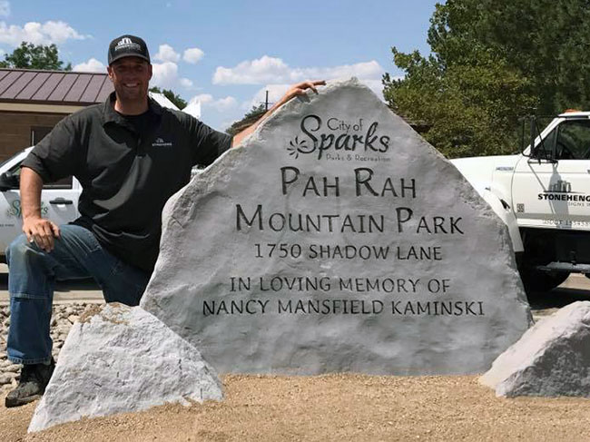 Engraved rock sign for Sparks Pah Pah Mountain Park