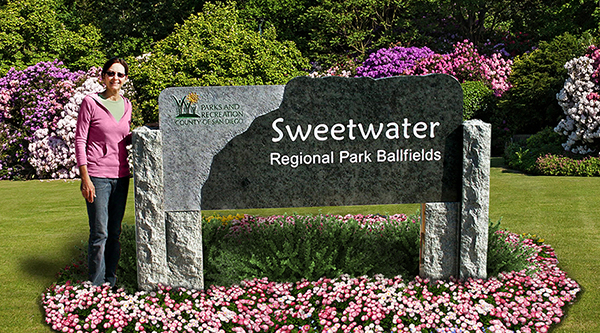 Polished stone park sign for Sweetwater Regional Park