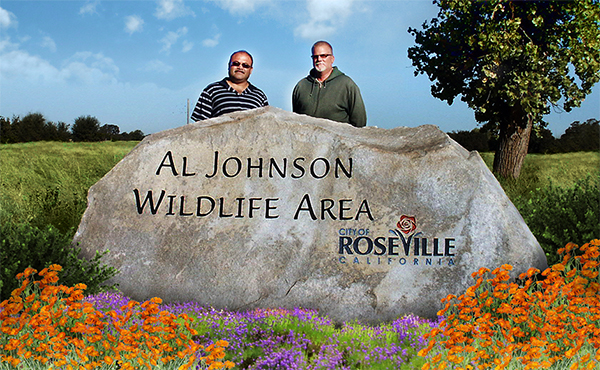 Natural stone park sign for Al Johnson Wildlife Area