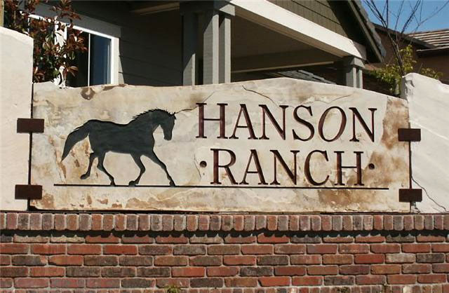 Engraved sandstone sign for Hanson Ranch